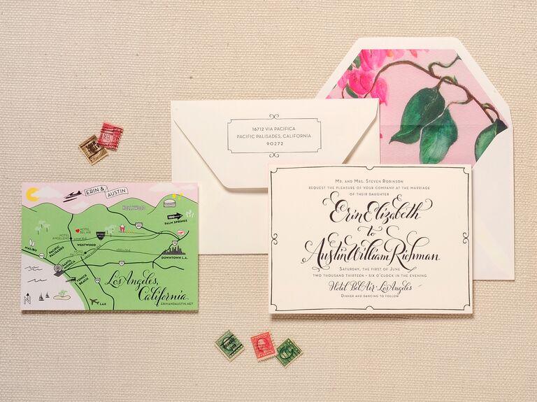 Regas illustrated map wedding invitation