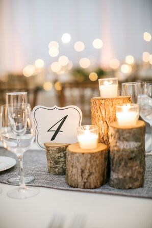 Small Wood Slabs with Votive Candles and Table Number