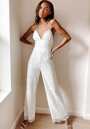 Lulus All About Tonight White Lace Wide-Leg Lace-Up Jumpsuit Wedding Dress