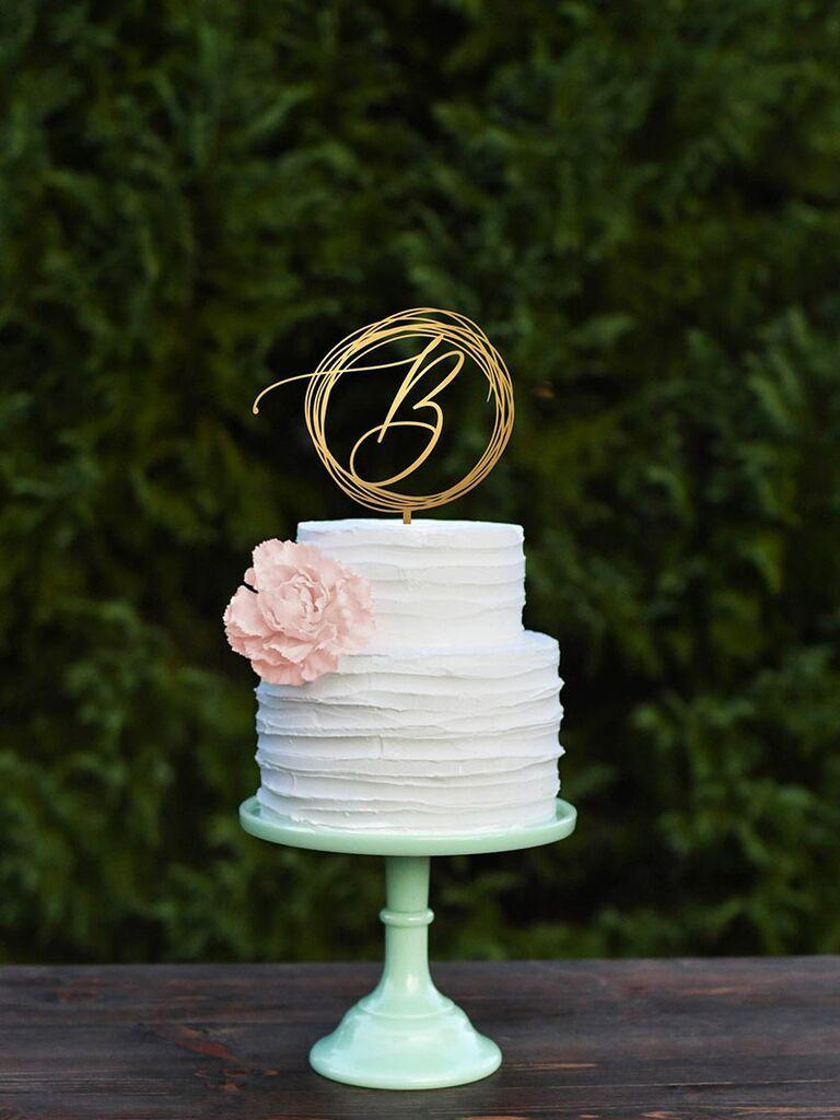 gold initial nest cake topper