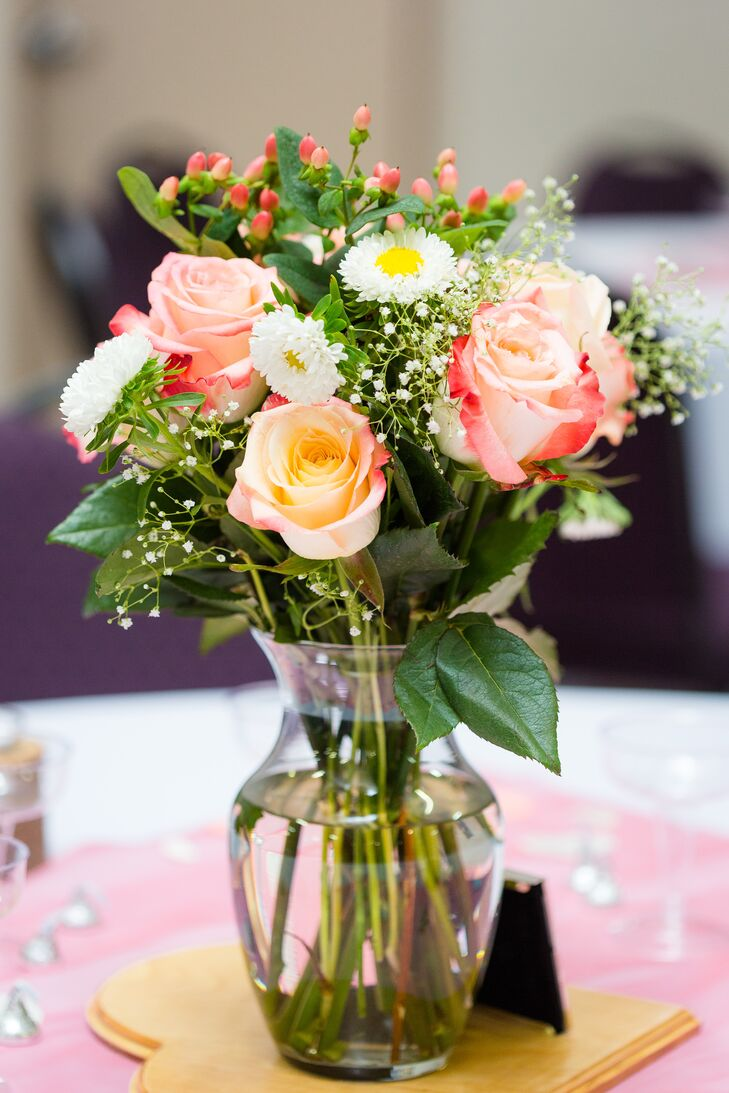 Pink and Ivory Flower Centerpiece