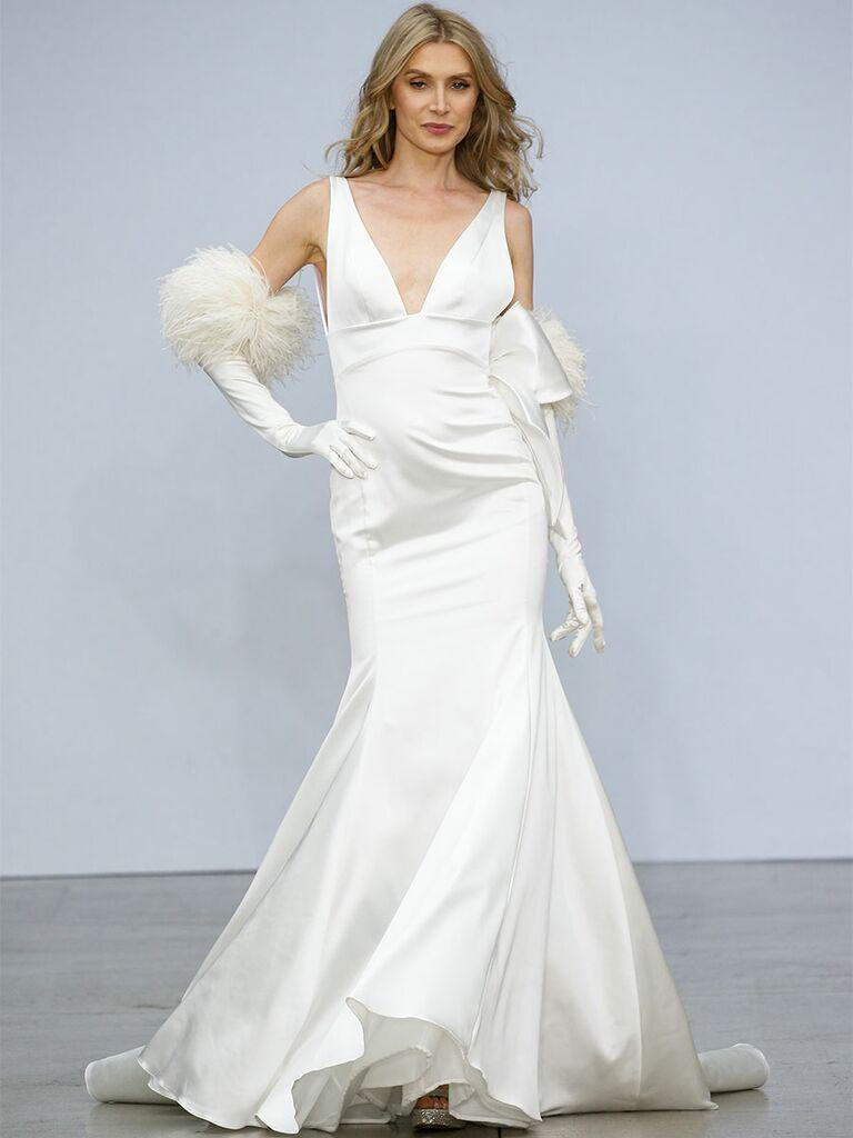 Pnina Tournai wedding dress v-neck satin slip dress