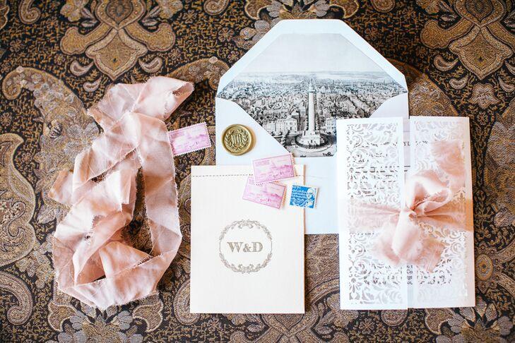 Custom-Designed Illustrated, Lasercut Wedding Invitations