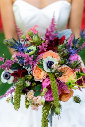 Vibrant Anemone, Amaranthus, Thistle and Garden Rose Bridal Bouqut