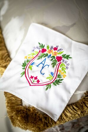 Handkerchief with Colorful Floral Monogram