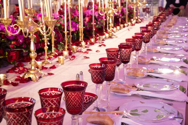 Glam Burgundy Tablescape at Shadowbrook at Shrewsbury in New Jersey