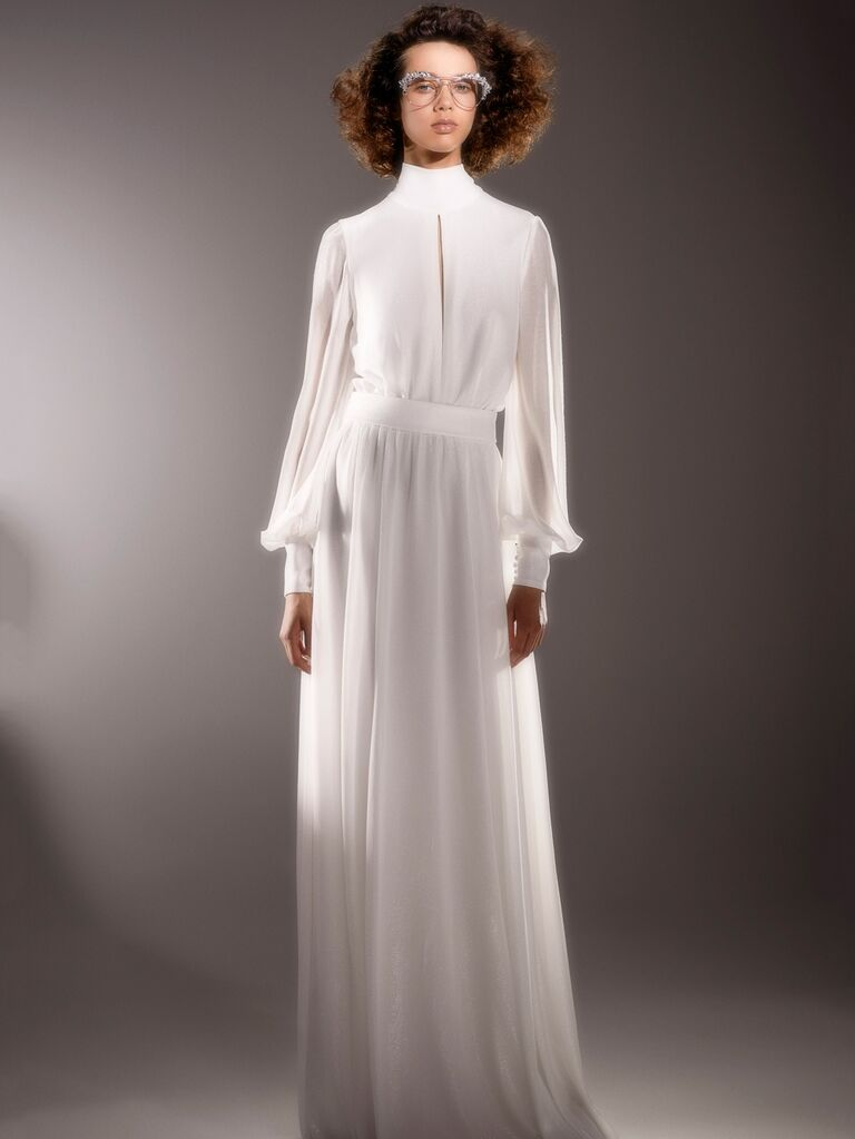 Viktor & Rolf Spring 2020 Bridal Collection wedding dress with a high neckline and long sleeves