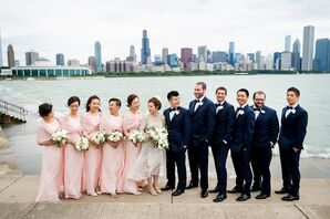 Wedding Party with Pink Bridesmaids Dresses and Navy Tuxedos