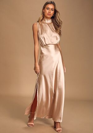 Lulus Classic Elegance Champagne Satin Sleeveless Mock Neck Maxi Dress Bridesmaid Dress