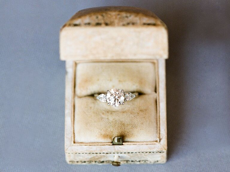 Round Diamond engagement ring in a box