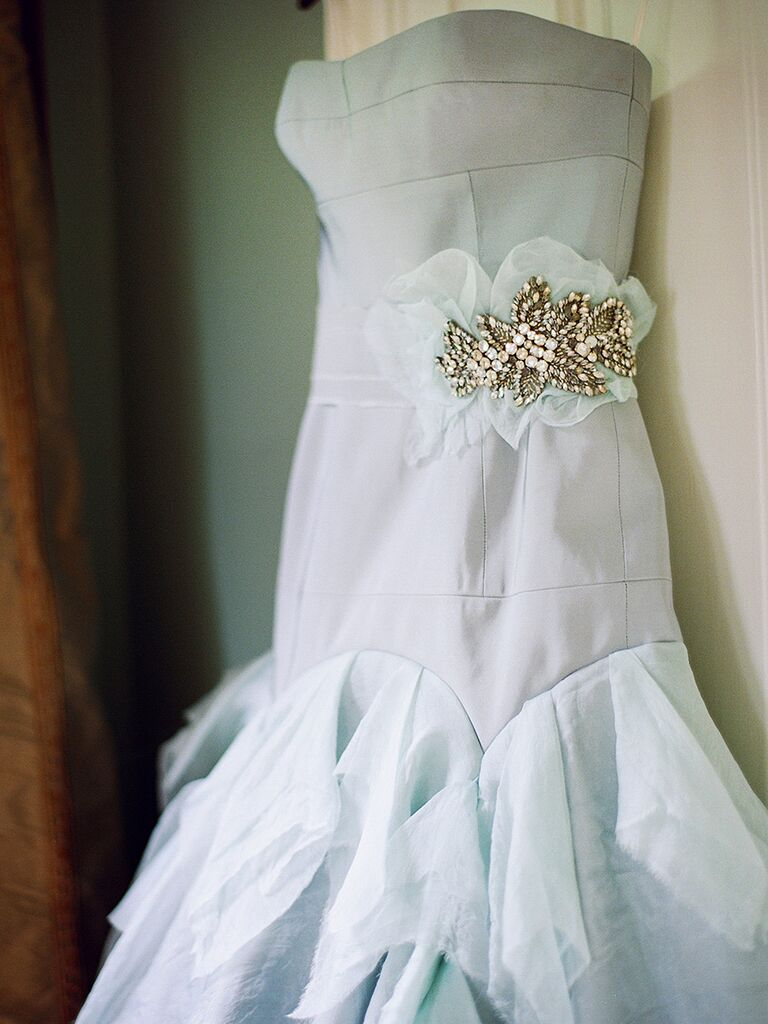 Light blue strapless wedding gown by Tara LaTour