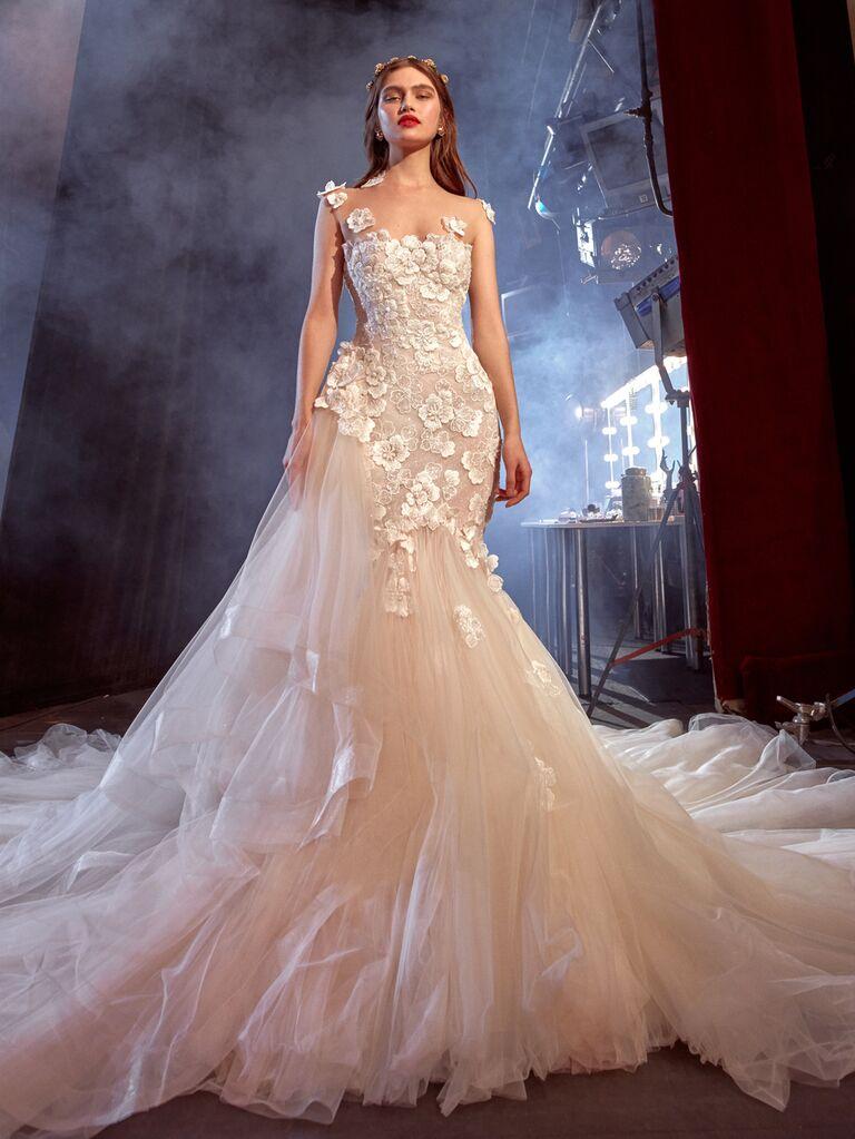 Galia Lahav Spring 2020 Bridal Collection floral appliqué asymmetrical wedding dress