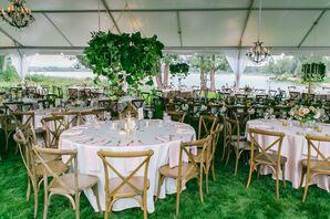 Hanging Leafy Green Wedding Reception Centerpieces