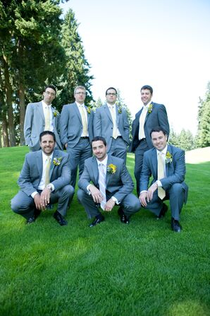 Groom and Groomsmen in Gray Suits