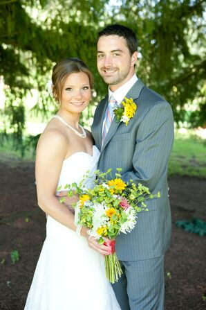 Couple Shot with Colorful Flowers