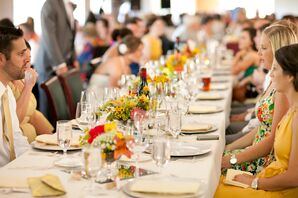 Reception Dining Table, Linens and Dinnerware