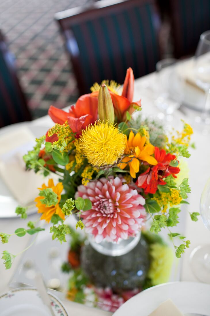 Vibrant, Colorful Floral Arrangement on Table