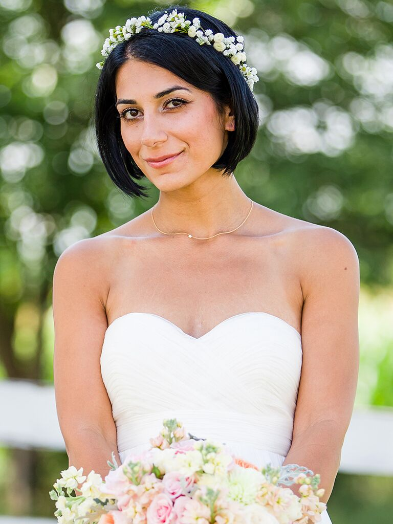 Short Bob Wedding Hairstyle With A Small Flower Crown