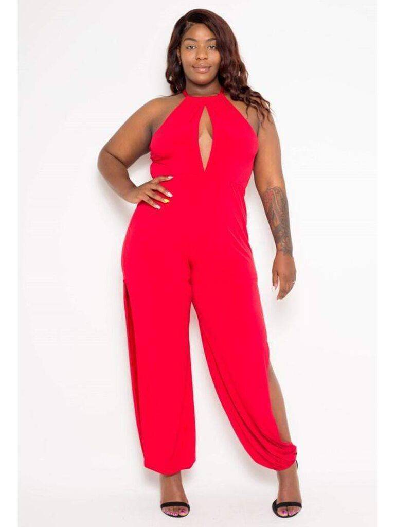 Red halter jumpsuit with keyhole neckline