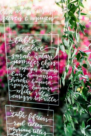Hand-Lettered Acrylic Seating Chart