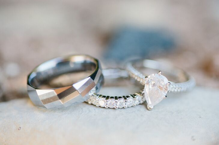 Modern Geometric Wedding Band and Pear-Cut Diamond Engagement Ring