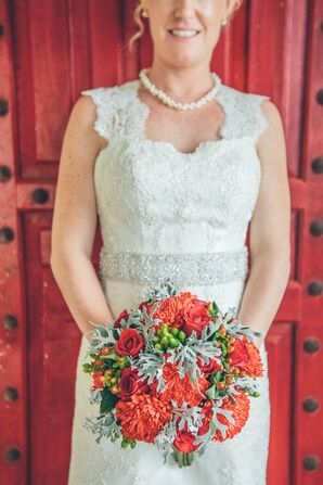 Coral and Green Bridal Bouquet