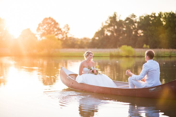 During the reception at Spring Lake in Rockmart, Georgia, the newlyweds sneaked away for a private romantic moment to canoe during the sunset.