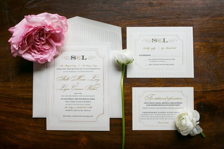 Traditional Black and Gold Wedding Invitations