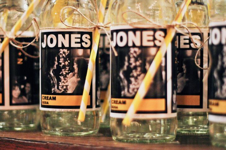 As favors, Brittany and Nelson gave their guests customized bottles of Jones soda to commemorate their newly shared last name. The label featured their engagement picture as well as modified nutrition facts that pertained to their wedding and a message to their guests.