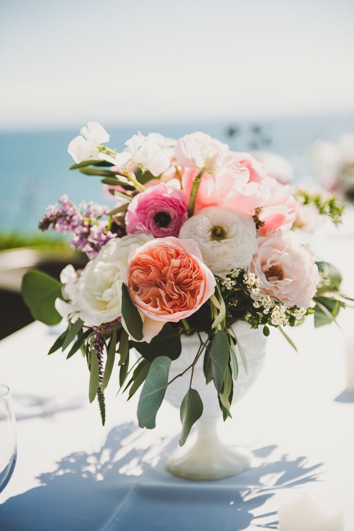White and Pink Ranunculus Centerpiece