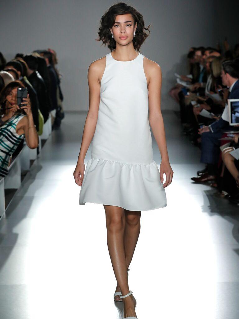 95478537f93 Amsale Little White Dress Spring 2020 Bridal Collection structured  drop-waist wedding minidress