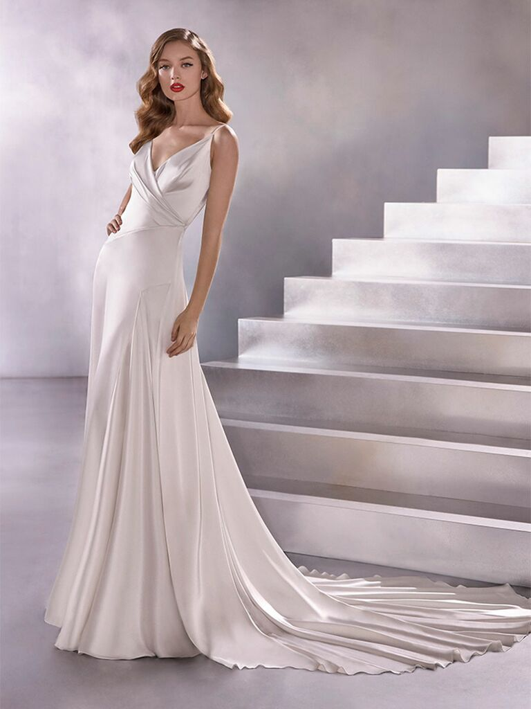 Atelier Provonias wedding dress a-line sating dress with v-neck
