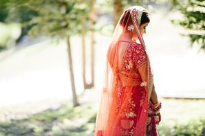 Bride in Traditional Red Lehenga at Wedding