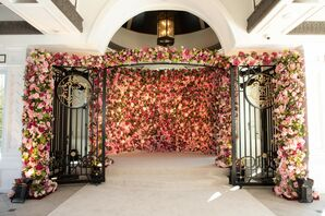 Dramatic Flower Wall for Wedding at Shadowbrook at Shrewsbury in New Jersey