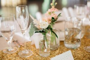 Bud Vase Centerpieces with Pink Flowers