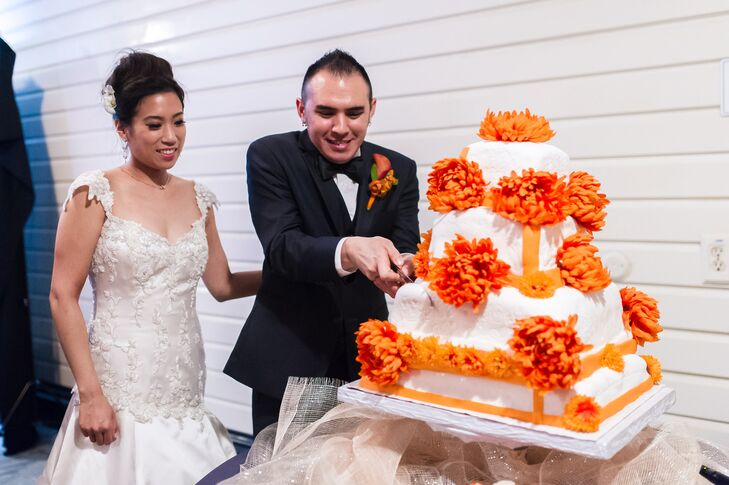 """""""Our wedding cake was special because my mom's best friend from grade school made it at her own home. We had no idea it was going to look so beautiful and taste amazing,"""" says Chantley."""