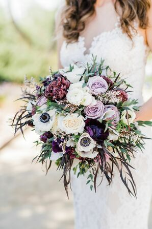 Romantic Bouquet of Anemones, Roses and Greenery