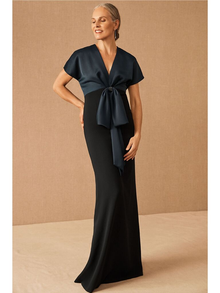 Black and navy evening dress with wrap front