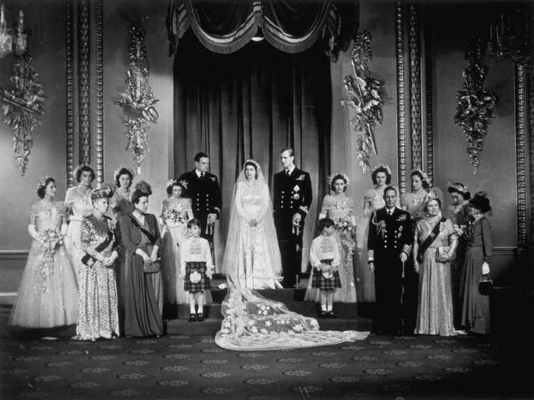 Queen Elizabeth wedding picture with bridesmaids and wedding party members