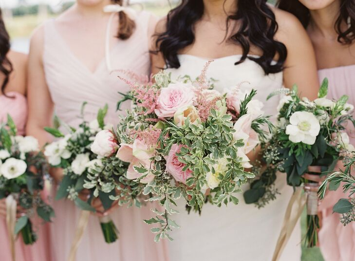 """Joyce carried a bouquet of blush cream peonies, blush garden roses, blush amaryllis, pink lavender and variegated boxwood wrapped with a cream ribbon. """"I wanted all the flowers to have movement -light and airy in form,"""" says Joyce."""