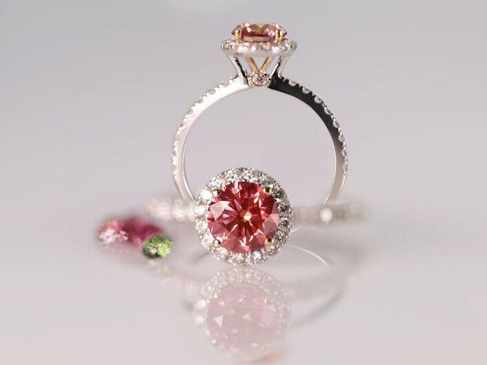 ILANIS diamonds pink diamond engagement ring in 14K white gold
