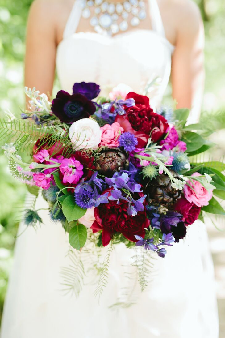 Jewel-Tone Bouquet of Roses and Wildflowers