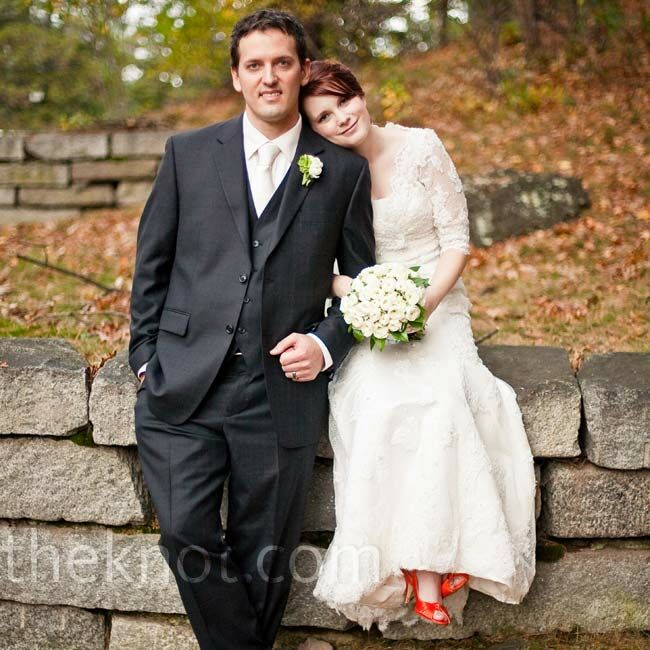 Erica and Mike met on an online forum and bonded over their love for the outdoors.  The Bride Erica Long, 30 and an art director The Groom Mike Pensack, 33 and an engineer The Date October 31  For their Halloween wedding, they used an expected color palette of orange, black, and white, but gave it a unique spin with vintage accents and a damask pattern.