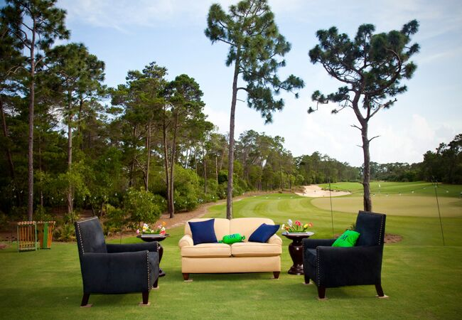 Lounge furniture at a golf course wedding reception
