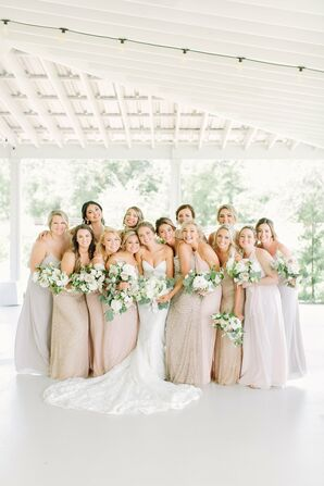 Elegant Bridesmaids in Metallic and Neutral-Colored Gowns