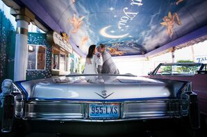 First Kiss at Little White Wedding Chapel
