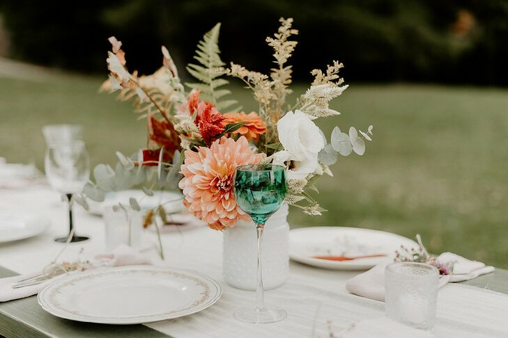 Bohemian Centerpieces with Dahlias, Leaves and Painted Mason Jars