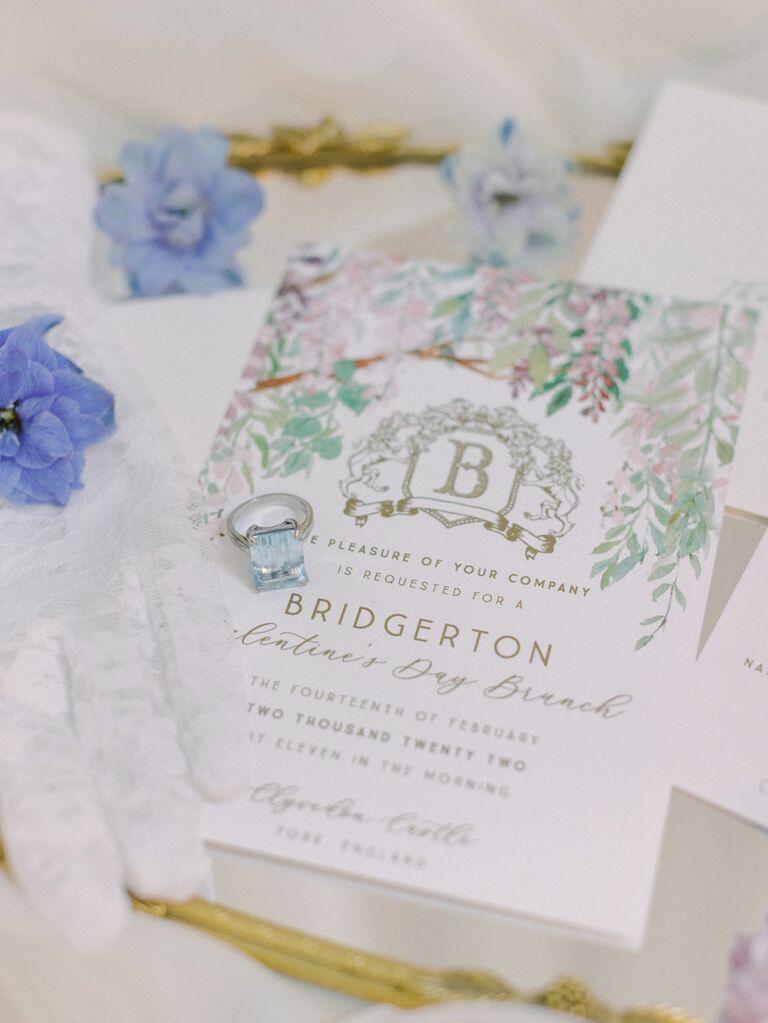Pastel elegant Bridgerton-themed tea party bridal shower invitations