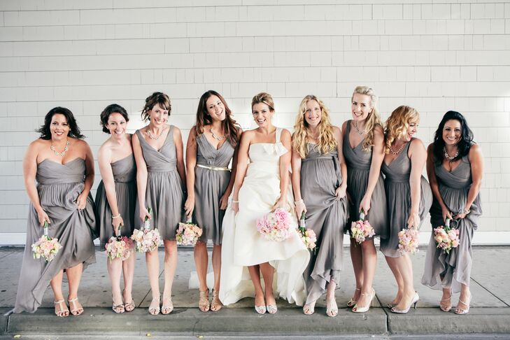 Wanting to allow here bridesmaids' to show off a bit of their own personality, while maintaining and element of cohesiveness, Cynthia allowed the girls to choose their own dresses from J.Crew's bridesmaid line, asking only that they stayed with gray, chiffon fabric.