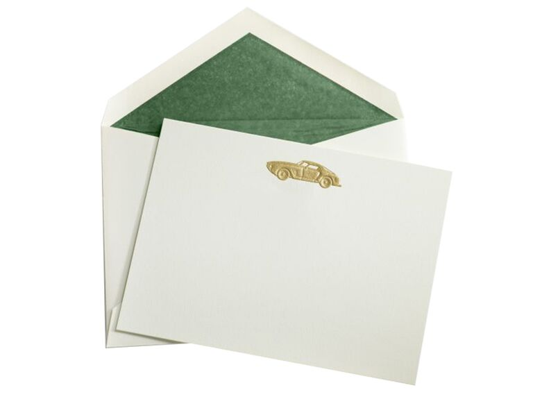 Vintage car stationery 15-year anniversary gift for him